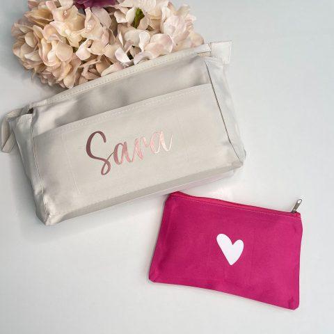 neceser doble personalizados beige y rosa