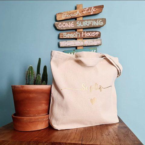 bolso personalizado con vinilo textil