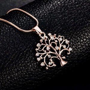 Collar árbol de la vida rosa
