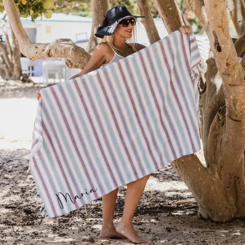 pareo-toalla + pamela azul